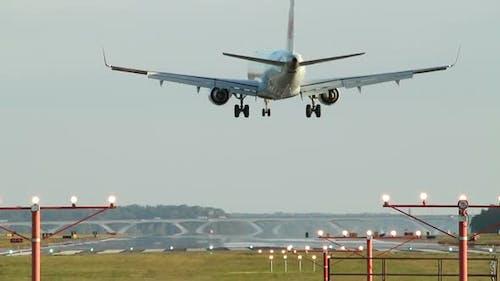 Business jet plane landing.