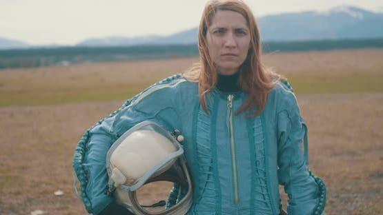 Portrait Of A Woman Redhead Astronaut