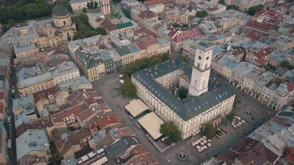 Thumbnail for Aerial Drone Video of European City Lviv, Ukraine. Rynok Square, Central Town Hall, Dominican Church