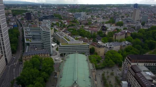 AERIAL: Opera House in Frankfurt Am Main, Germany From Above