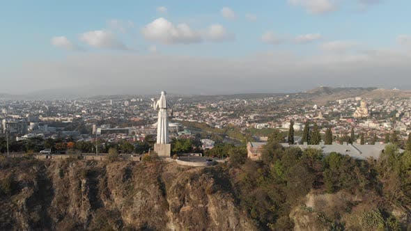 Thumbnail for Aerial view from drone to Monument Mother of Georgia (Kartlis Deda)