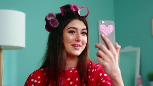 Young Woman Blogger Is Filming Emotional Vlog
