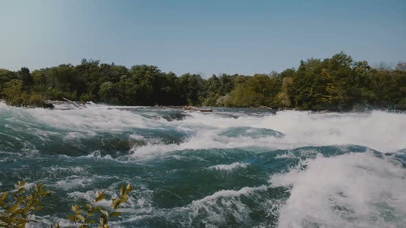 Thumbnail for Majestic View of Epic Rushing River Water Waves of the Niagara and Lush Green Trees on the Bank