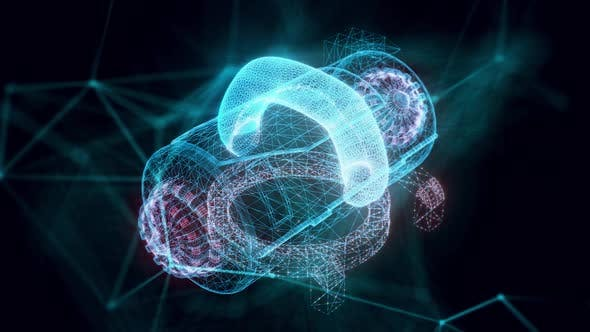 Futuristic Laboratory Machine Hologram Close Up Hd