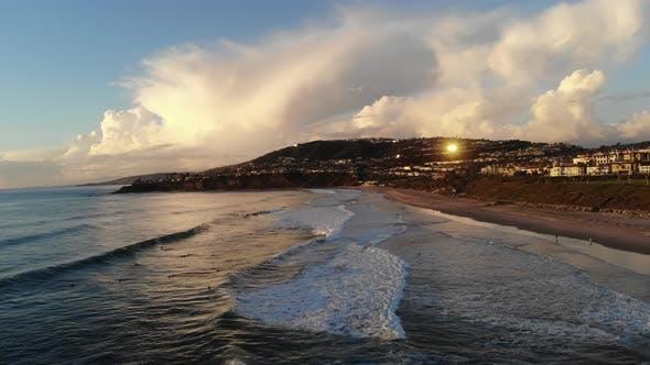 Waves Crashing Sunset Costal Aerial 4 K