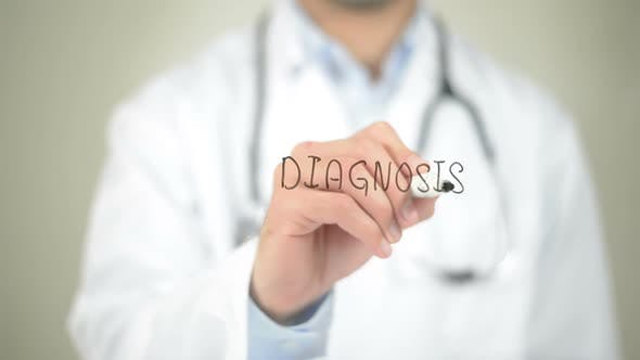 Thumbnail for Diagnosis, Doctor Writing on Transparent Screen