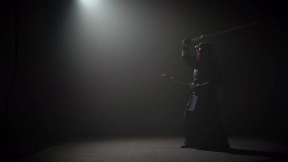 Thumbnail for Kendo Instructor Practicing Martial Art with the Katana Katana Shinai.