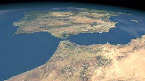 Strait Gibraltar in Planet Earth