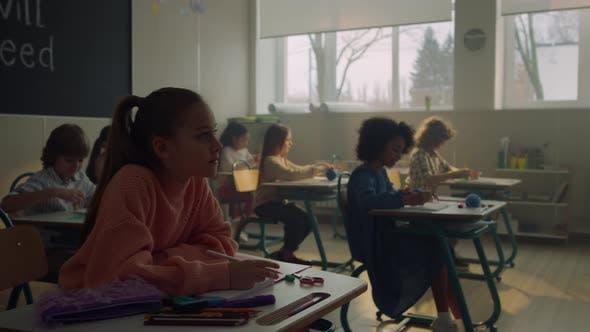 Schoolboys and Schoolgirls Studying in School Room