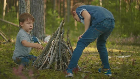 Thumbnail for Two Boys Put Sticks in a Fire in the Woods During a Hike. Boys in the Woods Prepare To Light a Fire