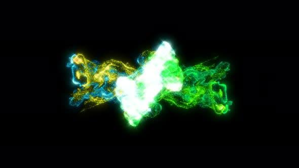 Color Fluids Collider on Black Liquid Splash Abstract Smoke Cloud Particles