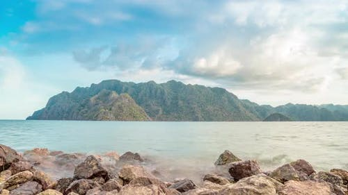 Beautiful Landscape Sea with Rocks and Mountain Coron in Busuanga, Philippines