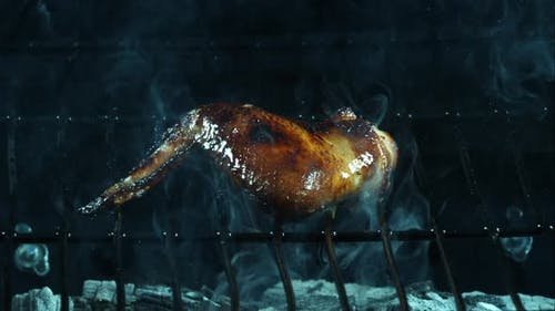 Grilling BBQ Chicken Wings in ultra slow motion