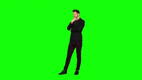 Thumbnail for Guy Is Very Tired and Thoughtful, Reflects on Life. Green Screen
