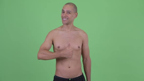 Thumbnail for Happy Bald Multi Ethnic Shirtless Man Giving Thumbs Up