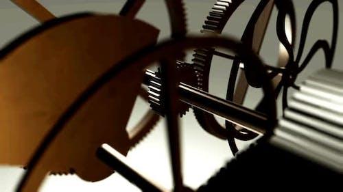 Metal gears in motion in a mechanical device