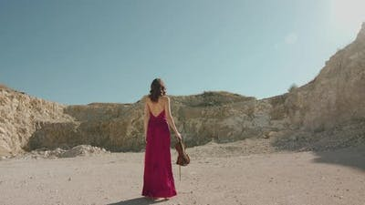 Elegant Lady in Dress Walking with Violin and Bow Among Desert at Cliffs