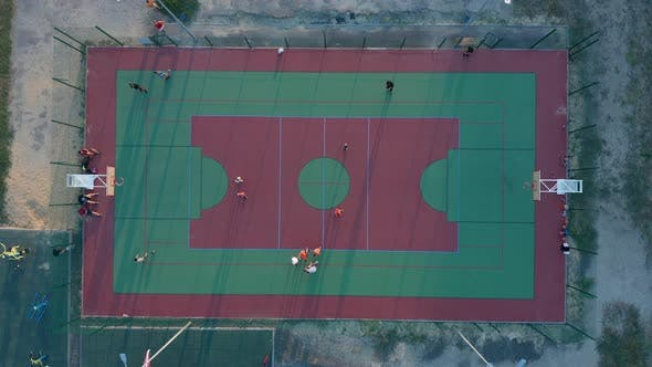 Aerial View. Park with a Basketball Field and a Training Platform, Sports Area