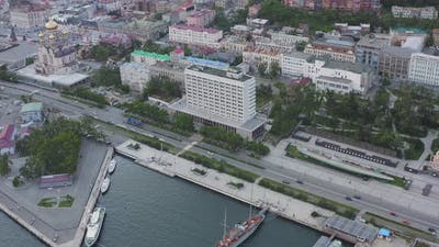 Aerial View of the Center of Vladivostok at Sunset Russia