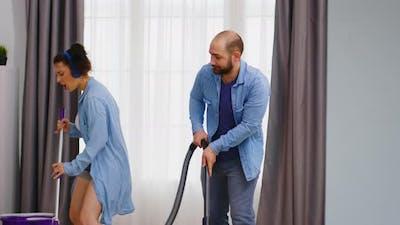 Cheerful Wife Housekeeping