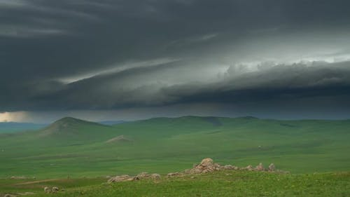 Real Supercell Typhoon is Approaching With Storm Clouds