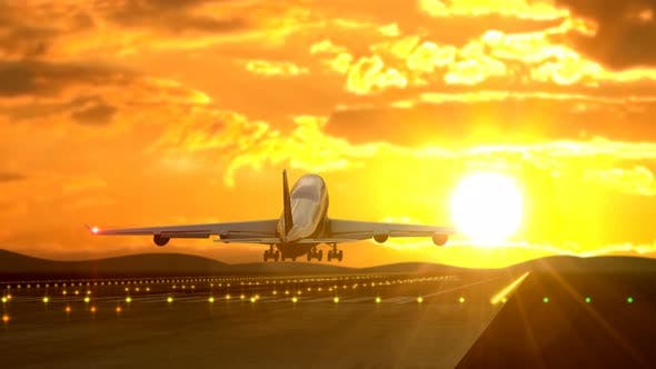 Thumbnail for Passenger Airplane Landing Against Golden Sunset
