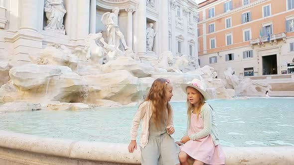 Thumbnail for Adorable Little Girls Near the Fountain of Trevi in Rome, Happy Kids Enjoy Their European Vacation