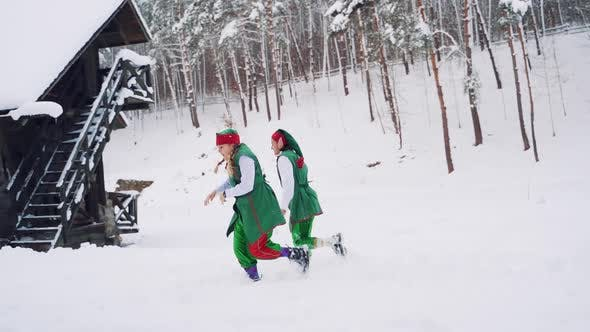 Thumbnail for Two Fabulous Elves in Green Suits Ran Into the Hut