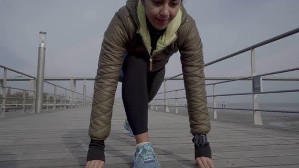 Thumbnail for Cheerful Hindu Woman on Start Line Ready To Run