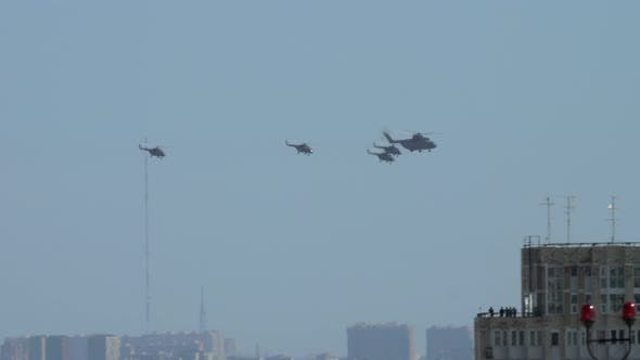 Flying helicopters during Victory parade in Moscow, Russia