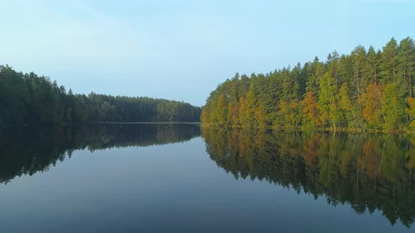 Thumbnail for Flying Low Over The Lake In Autumn