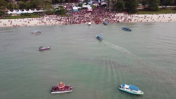Thumbnail for Crowds attend the festival floating chariot by vehicle or by boat