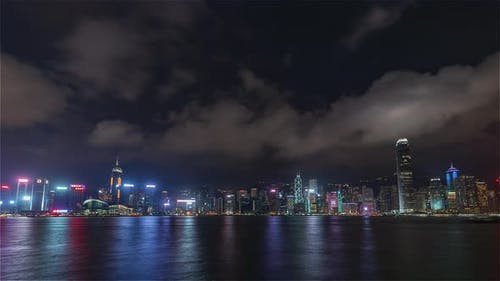 Hong Kong, China | Wide angle view of the Skyline at night