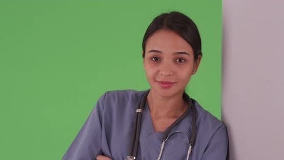 Thumbnail for Greenscreen portrait of Latina woman doctor medical health care professional