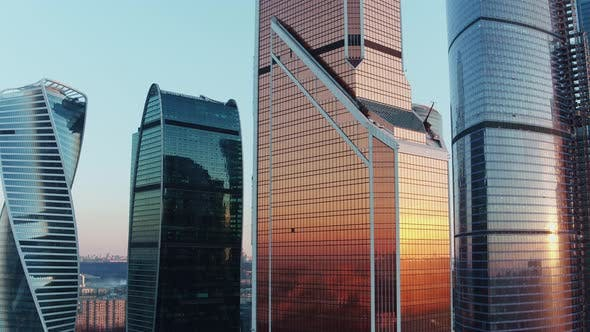 Thumbnail for Office Skyscrapers in Moscow Business Centre at Sunset, Aerial View