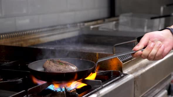 Thumbnail for Cook Frying a Piece of Delicious Beef Meat