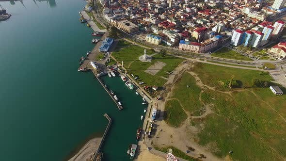 Cover Image for Coastline Yacht Club Aerial View, Luxurious Hobby in A Modern Tourist City