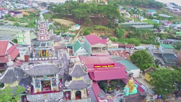 Thumbnail for Aerial Panorama of City with Buddhist Pagoda Tower