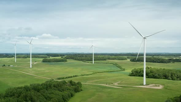 Thumbnail for Aerial View of Wind Turbine Farm in Countryside