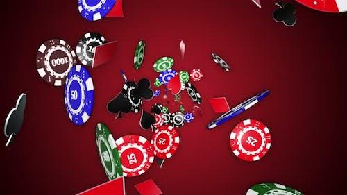 Poker-Chips, Würfel und französische Kartensymbole