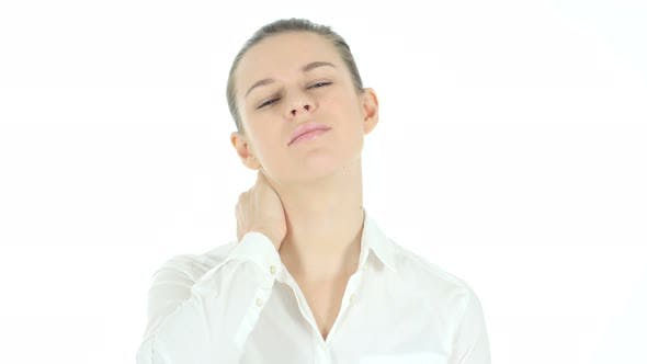 Neck Pain, Tired Woman with Neckache