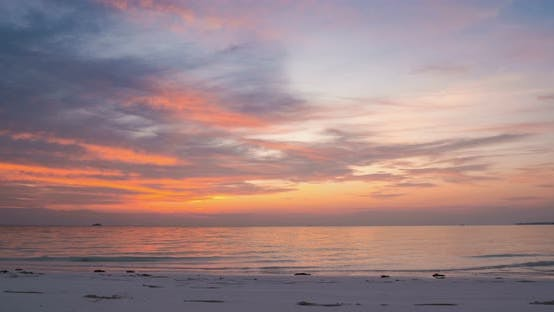 Thumbnail for Time lapse tropical beach and sea at sunset, Colorful dramatic sky at dusk