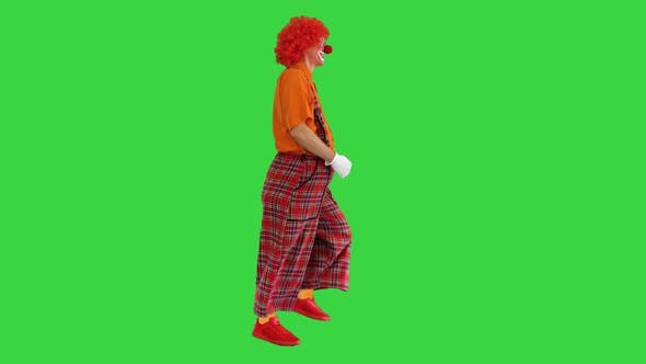 Thumbnail for Funny Clown with Red Hair Walking Comically on a Green Screen Chroma Key