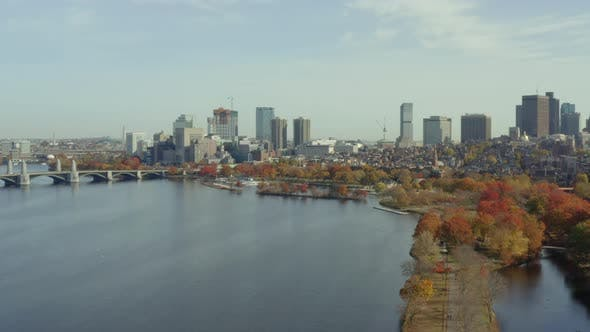 Flying South over Charles River toward Beacon Hill