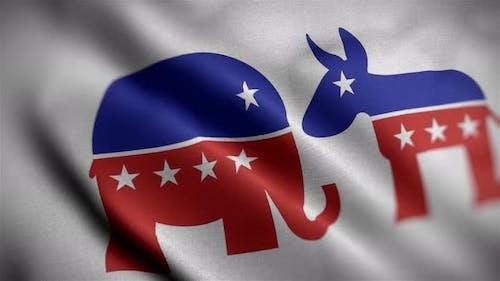 Republican & Democrat Flag Angle