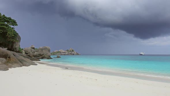 Thumbnail for White Sand Beach and Storm Sky on Similan Islands