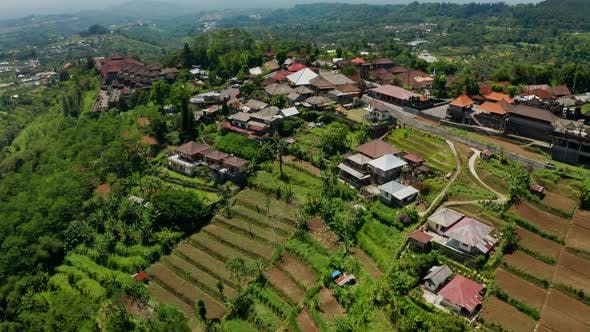 Flying Over Farms In The Countryside Of Bali