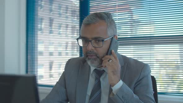 Thumbnail for Serious Grey Haired Businessman Talking on Mobile Phone