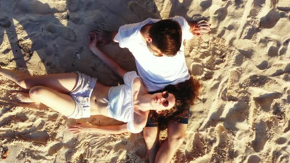 Thumbnail for Happy Couple on Romantic Honeymoon Have Fun on Beach on White Sand
