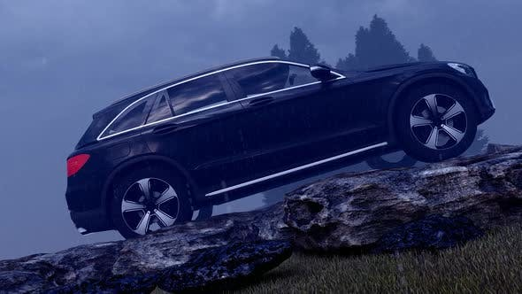 Thumbnail for Black Luxury Off-Road Vehicle Standing in Rainy, Mountainous Foggy Field